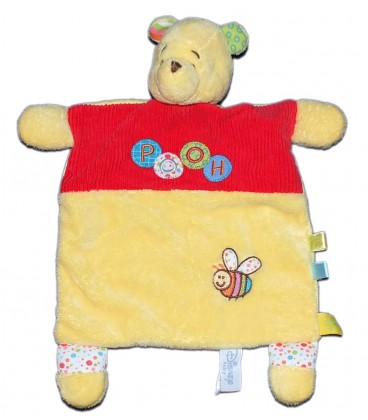 Doudou plat Winnie L'ourson Pooh Rouge jaune abeille Disney Baby Nicotoy 587/9440