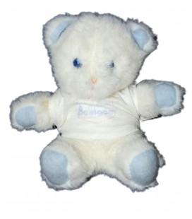 Vintage Doudou peluche OURS blanc bleu Baby BOULGOM Yeux bleux assis 20 cm