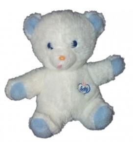 Vintage Doudou peluche OURS blanc bleu Baby BOULGOM Yeux bleux assis 25 cm