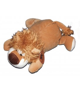 Doudou peluche lion allongé marron Tender Toys Wild Life 40 cm