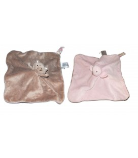 Doudou plat Réversible Chat marron taupe Oiseau rose JACADI