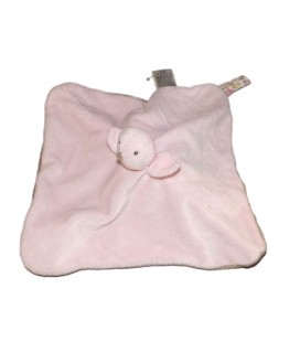 Doudou plat Reversible Chat marron taupe Oiseau rose JACADI