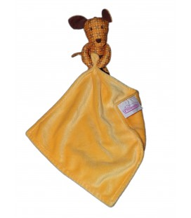 Doudou Chien tissu jaune orange Mouchoir POMMETTE ITM