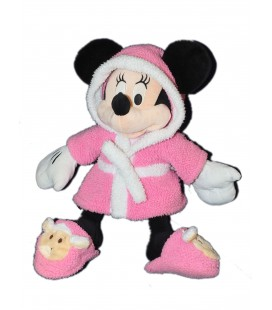 Doudou peluche MINNIE Peignoir rose chaussons mouton 42 cm Disneyland Paris Disney