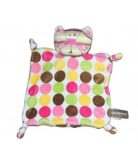 Doudou plat Chat Ronds multicolores Orchestra 4 noeuds
