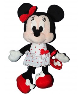 Doudou peluche MINNIE - Sac à Main rouge - Robe blanche pois - Disney Nicotoy - H 32 cm 587/8607