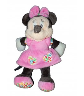 Doudou peluche MINNIE Robe rose Coeurs Disney Baby Nicotoy 26 cm Grelot 587/1065