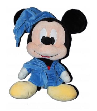 Peluche Mickey Grosse tête 45 cm Disney Nicotoy - Peignoir bleu Robe de Chambre 587/0177