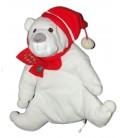 Peluche doudou Ours Polaire blanc Echarpe rouge Sapin LR Bonnet 32 cm