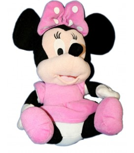 Doudou peluche MINNIE Robe rose Assise 35 cm Disney