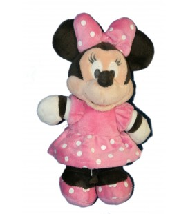 Peluche Doudou Minnie Robe rose pois blancs 24 cm Disney Club Nicotoy 587/7903