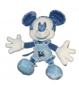 Peluche Doudou Mickey bleu foncé clair Train brodé Disney Store Exclusive 26 cm