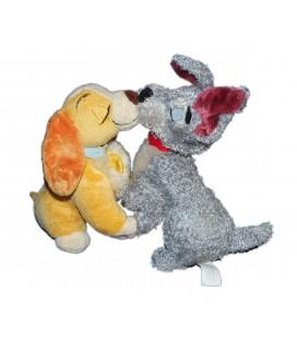 Doudou peluche Lady et Clochard - LA BELLE ET LE CLOCHARD Bisous bouche aimantée Disney Store 24 cm