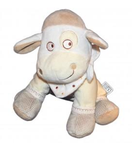 Doudou Peluche Mouton beige pois MOTS D'ENFANTS Siplec 22 cm