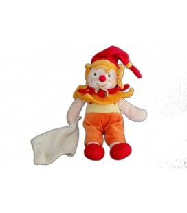 DOUDOU ET COMPAGNIE CLOWN orange Do Ré Mi Mouchoir 22 cm