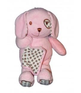 Doudou peluche lapin rose mouchoir Toys'R Us 32 cm