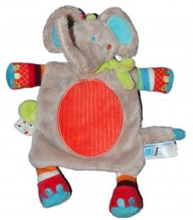 Doudou plat Elephant gris rond rouge Tex Baby Nicotoy Carrefour CMI