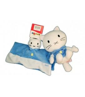 Doudou plat peluche Binz SET LOT Chat bleu blanc MUSTI BENGY - 19 cm