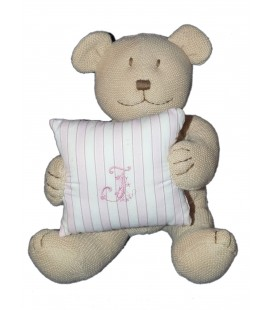 Doudou Peluche musicale OURS beige coussin oreiller rose JACADI Assis 24 cm