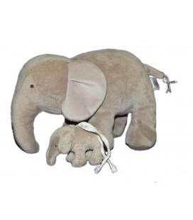 Doudou peluche ELEPHANT gris JACADI 26 cm et son bébé