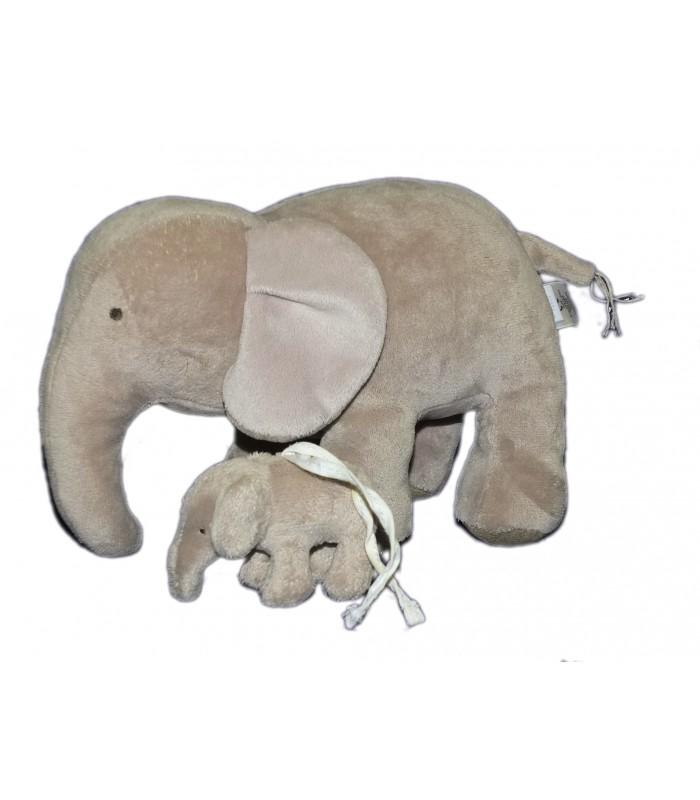 doudou peluche elephant gris jacadi 26 cm et son b b. Black Bedroom Furniture Sets. Home Design Ideas
