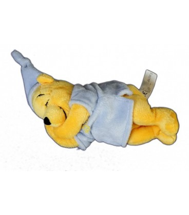 Peluche Doudou WINNIE allongé dormeur endormi Pyjama bleu - 22 cm - Disney Nicotoy