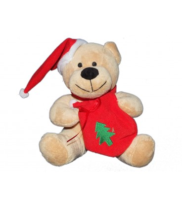 Peluche doudou Ours beige Noël Sac Sapin Bonnet rouge 20 cm Fizzy
