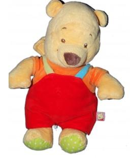 Peluche Doudou Winnie l'Ourson Salopette rouge 26 cm Disney Baby Nicotoy 587/0588
