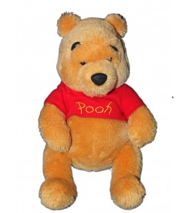 Peluche Doudou Winnie Pull rouge Pooh Brillant Fils dores 34 cm Disney Store