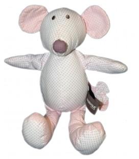 Doudou Souris en tissu blanc rose pois Orchestra 30 cm