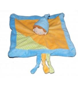 Doudou plat Lutin bleu jaune orange vert rayures Bonnet