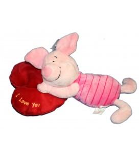 Doudou peluche PORCINET Coeur I love you 30 cm Disney Nicotoy 587/5573