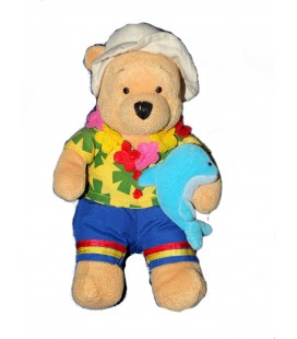 Peluche Doudou Winnie l'Ourson Hawaiian Pooh Dauphin Coll. Voyage Pays 24 cm Disney Store