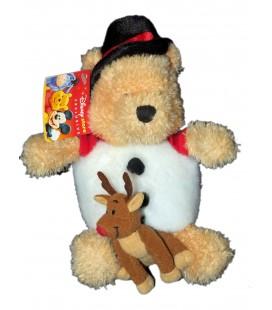 Peluche Noël Doudou Winnie l'Ourson Renne Snowman Pooh 23 cm Disney Store Exclusive