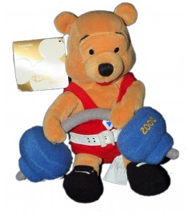 Peluche Doudou Winnie l'Ourson Haltérophile Weightlifting Pooh 22 cm Disney Store Exclusive 2000