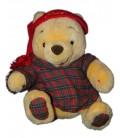 Peluche Winnie l'Ourson Pyjama bonnet rouge carreaux Euro Disney 30 cm