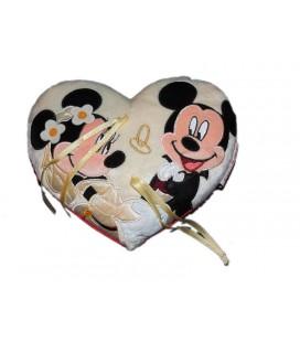 Coussin mariage alliances Mickey Minnie 22 cm Disney Disneyland Paris