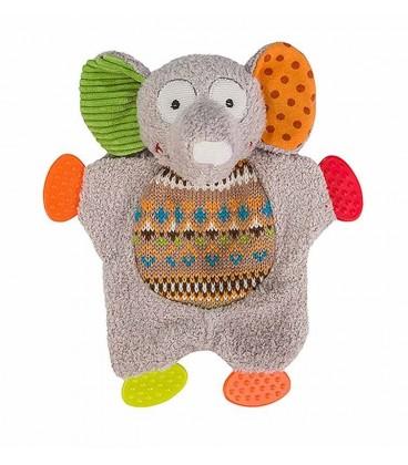 HUGGY TOY FUNNY JUMBO Doudou Elephant gris BABYONO
