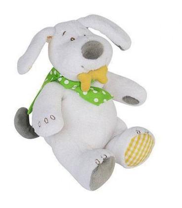 63496f4b67e5 BENGY Peluche chien blanc foulard vert os jaune Wouf Musical