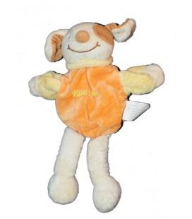 Doudou marionnette chien orange saumon Kimbaloo 28 cm