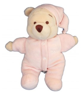 Doudou WINNIE L'OURSON Pyjama bonnet rose - H 22 cm - Grelot - Disney Store
