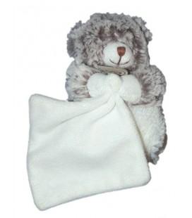 BABY NAT Doudou ours gris chiné Mouchoir blanc 15 cm BN749 Pantin Petit modèle Les flocons