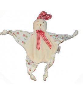 AJENA Nounours - Doudou plat Lapin fleurs vichy rouge 4 noeuds