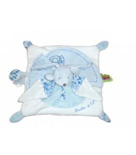 DOUDOU ET COMPaGNIE Lapin plat blanc bleu TaTOO 30 cm x 30 cm