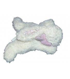 Doudou lapin blanc mauve Jacadi 18 cm