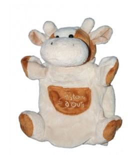 Doudou marionnette Vache marron beige HISTOIRE D'OURS