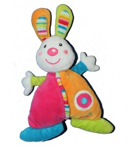 Doudou Lapin rose orange Baby Sun Babysun 20 cm