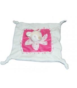 Doudou plat Faon Biche blanc rose Kimbaloo La Halle 4 noeuds Fleur