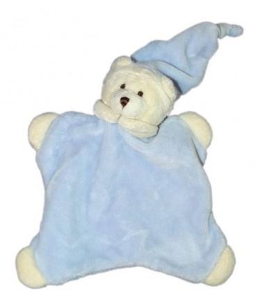 Doudou plat ours bleu blanc CMP