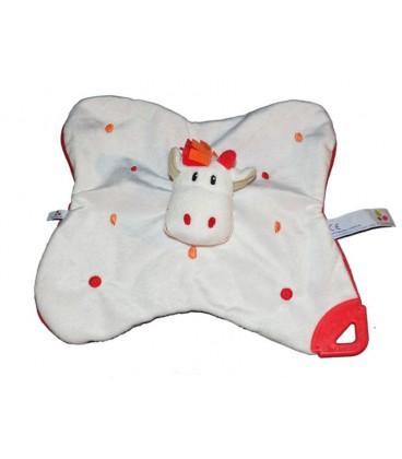 Doudou Plat Cheval Girafe Aubert blanc rouge P tit Bisou
